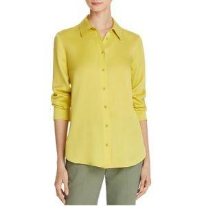 Vince mustard yellow silk button down shirt XS